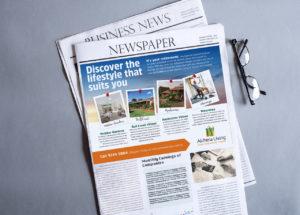 Alchera Living newspaper design