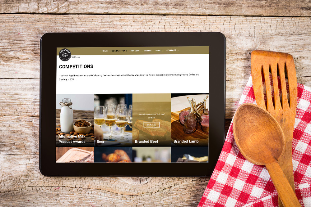 Perth Royal Show Food Awards website design